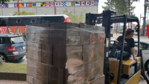 Shipping pallets of rum from the Halifax Distilling Co